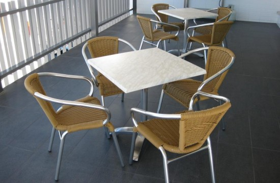 honey wicker chairs marble tables