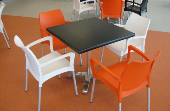 plastic chairs with square table