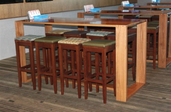 pub dry bar table and stools