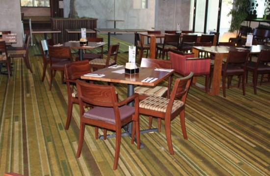 timber dining setting in hotel