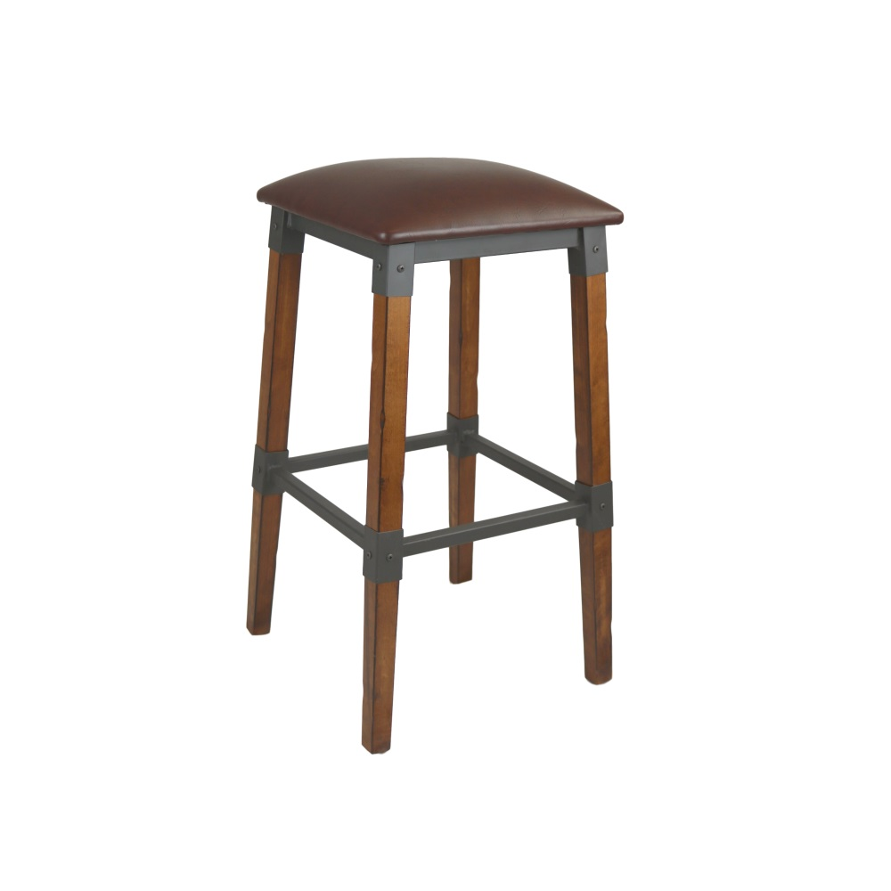 Genoa Barstool Vinyl Seat Rustic Cafe Seat With Cushion