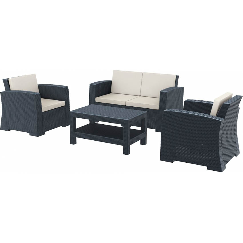 Monaco Lounge Set - Anthracite with cushions