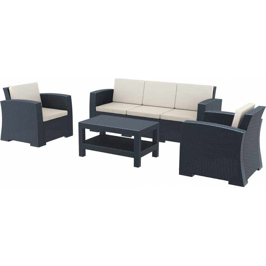 Monaco Lounge Set XL - Anthracite with cushions