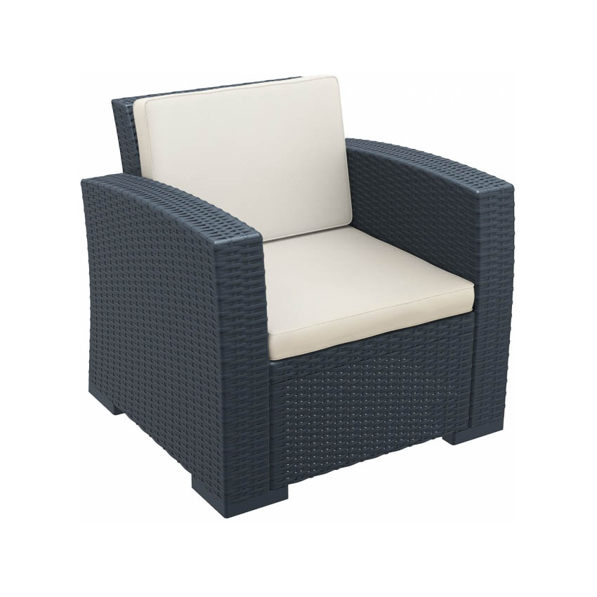 Monaco Lounge Armchair (Pair) - Anthracite with cushion