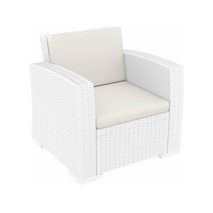 Monaco Lounge Armchair (Pair) - White with cushion