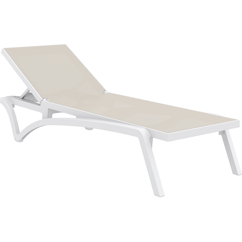 Pacific Sun Lounger - White/Taupe