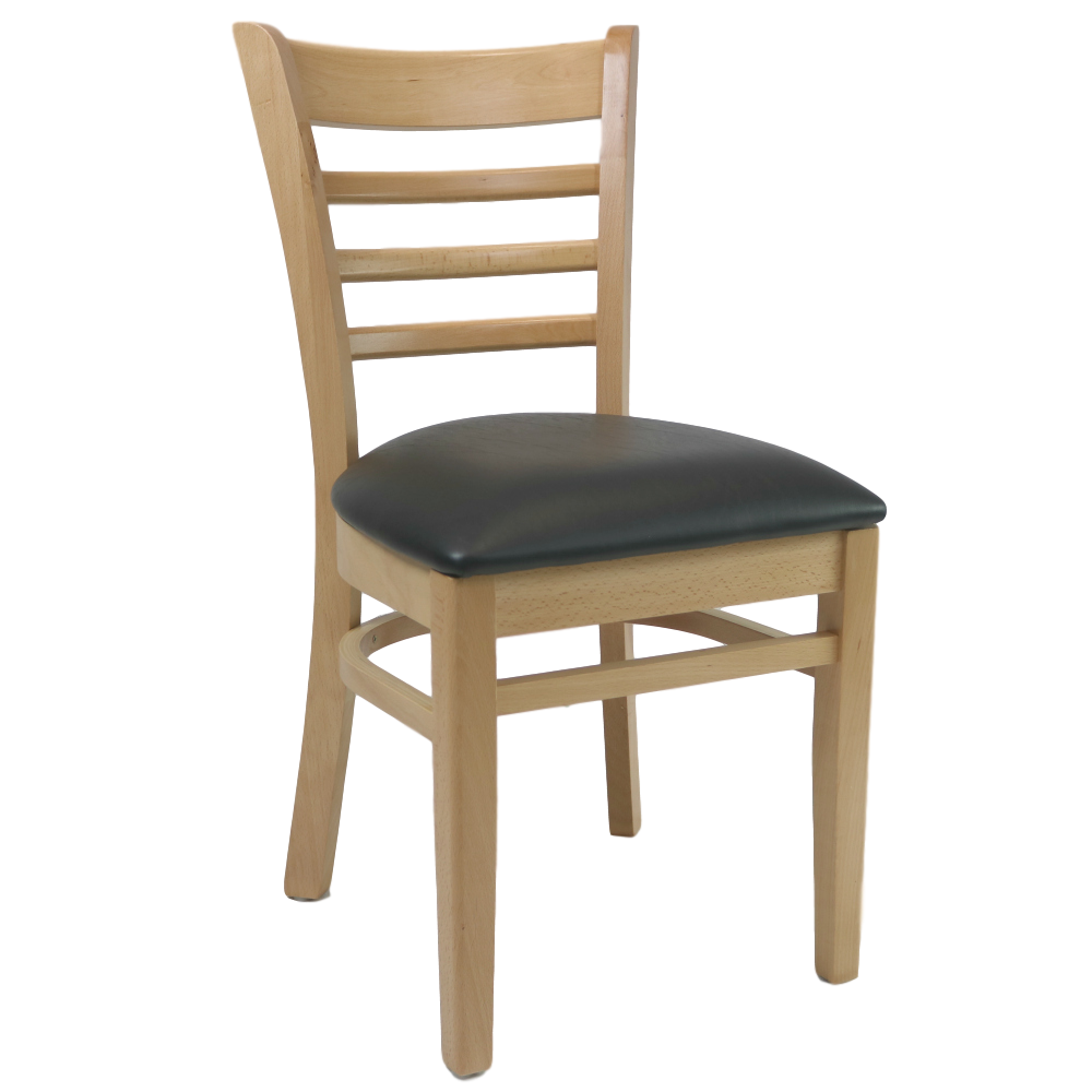 Florence Chair - Natural - Vinyl Seat (Black)