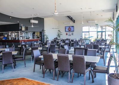 Bargara Golf Club - Florence Chair in Chocolate Vinyl & Gentas Marble Table Tops on Black Air Legs - Image 8