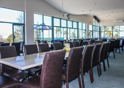 Bargara Golf Club - Florence Chair in Chocolate Vinyl & Gentas Marble Table Tops on Black Air Legs - Image 7