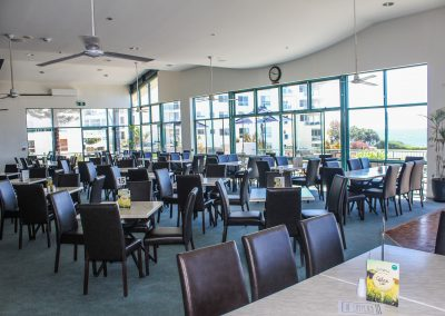 Bargara Golf Club - Florence Chair in Chocolate Vinyl & Gentas Marble Table Tops on Black Air Legs - Image 6