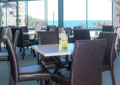 Bargara Golf Club - Florence Chair in Chocolate Vinyl & Gentas Marble Table Tops on Black Air Legs - Image 5