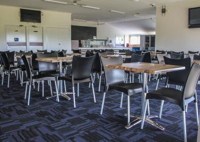 Bundaberg Race Club - Merit Chair in Black, Gentas Rustic Block Wood Table top & Roma Table Base - Image 3