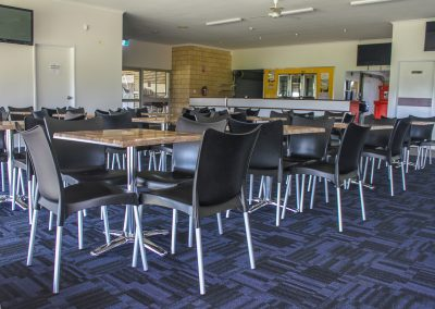 Bundaberg Race Club - Merit Chair in Black, Gentas Rustic Block Wood Table top & Roma Table Base - Image 4
