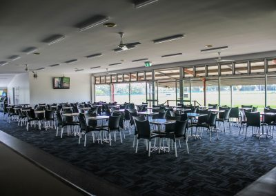 Bundaberg Race Club - Merit Chair in Black, Gentas Rustic Block Wood Table top & Roma Table Base - Image 7