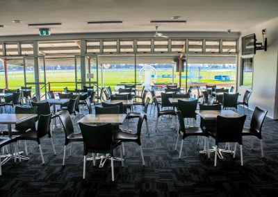 Bundaberg Race Club - Merit Chair in Black, Gentas Rustic Block Wood Table top & Roma Table Base - Image 9
