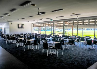 Bundaberg Race Club - Merit Chair in Black, Gentas Rustic Block Wood Table top & Roma Table Base - Image 10