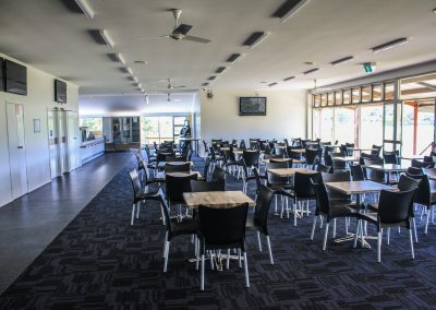 Bundaberg Race Club - Merit Chair in Black, Gentas Rustic Block Wood Table top & Roma Table Base - Image 11