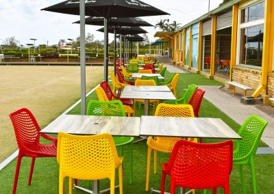 Camp Hill Bowls Club - Air Chair in Red, Mango, Green & Stirling MK2 Table Base with Compact Laminate Duratop in Shesman - Image 2
