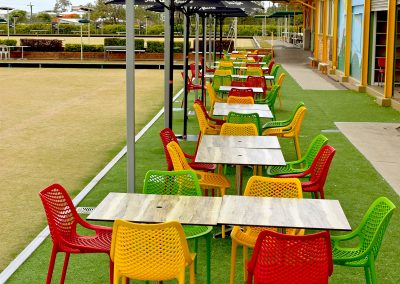 Camp Hill Bowls Club - Air Chair in Red, Mango, Green & Stirling MK2 Table Base with Compact Laminate Duratop in Shesman - Image 4