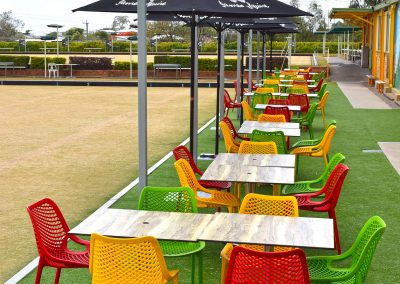 Camp Hill Bowls Club - Air Chair in Red, Mango, Green & Stirling MK2 Table Base with Compact Laminate Duratop in Shesman - Image 5
