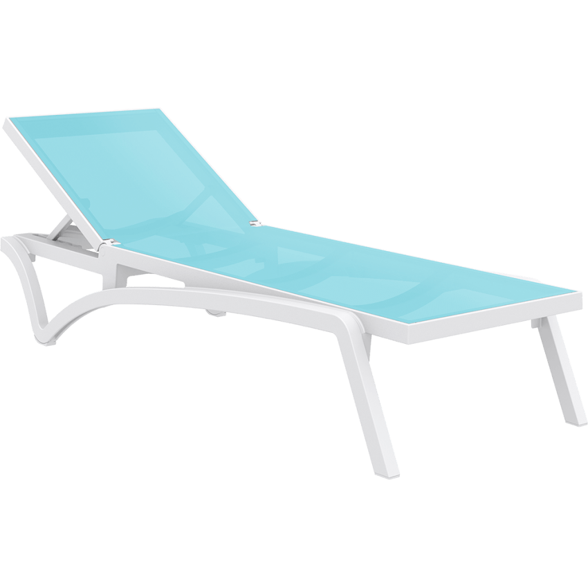 Pacific Sunlounger - White/Turquoise