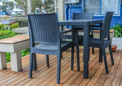 Captains Cove Resort – Paynesville VIC - Ibiza Armchair in Anthracite & Bali Table in Anthracite
