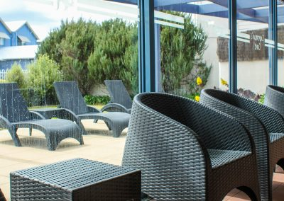 Captains Cove Resort – Paynesville VIC - Tequila Side Tables, Ibiza Armchair in Anthracite & Fiji Sunloungers in Anthracite