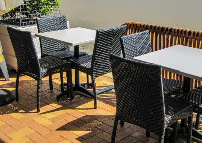 Thai Rice Bundaberg QLD - Palm Chair, Duratop Table Top, Astoria Black Table Base - Image 4