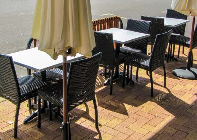Thai Rice Bundaberg QLD - Palm Chair, Duratop Table Top, Astoria Black Table Base - Image 2