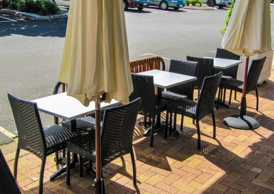 Thai Rice Bundaberg QLD - Palm Chair, Duratop Table Top, Astoria Black Table Base - Image 1
