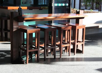 Eatons Hill Hotel Bar Table & Timber Stools - Image 9