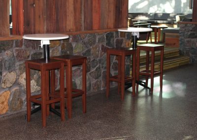 Eatons Hill Hotel Bar Table & Timber Stools - Image 7