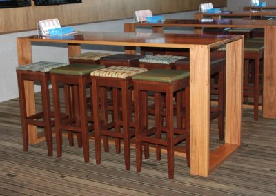 Eatons Hill Hotel Bar Table & Timber Stools - Image 5