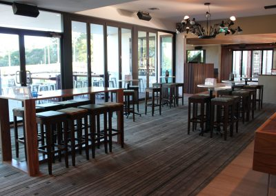 Eatons Hill Hotel Bar Table & Timber Stools - Image 4