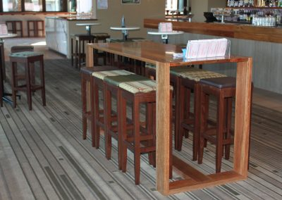 Eatons Hill Hotel Bar Table & Timber Stools - Image 1