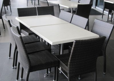 Woodgate Club - Block Stool, Duratop Table Top, Avila Table Base, Stirling Mk2 Table Base, Function Chair-Fabric, Avoca Chair & Palm Chair - Image 3