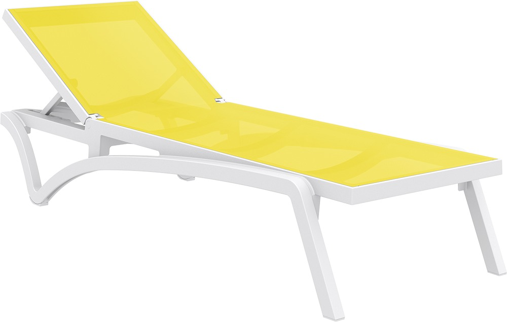 Pacific Sunlounger - White/Yellow