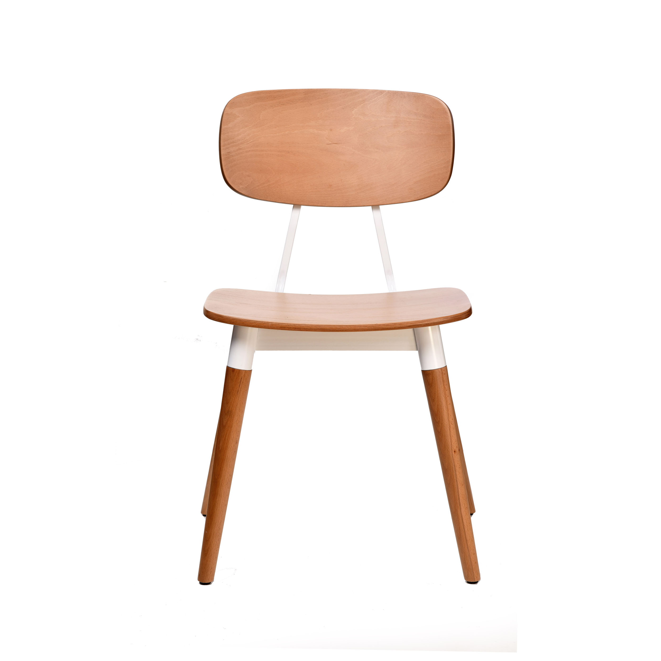 Felix Chair - Ply Seat - Natural - White Frame