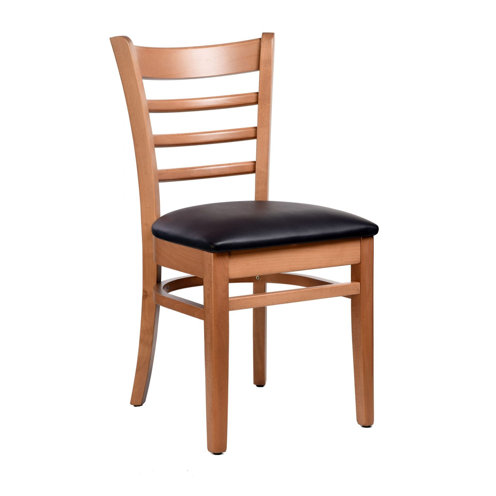Florence Chair - Natural - Vinyl Seat (Black) - Made in Europe