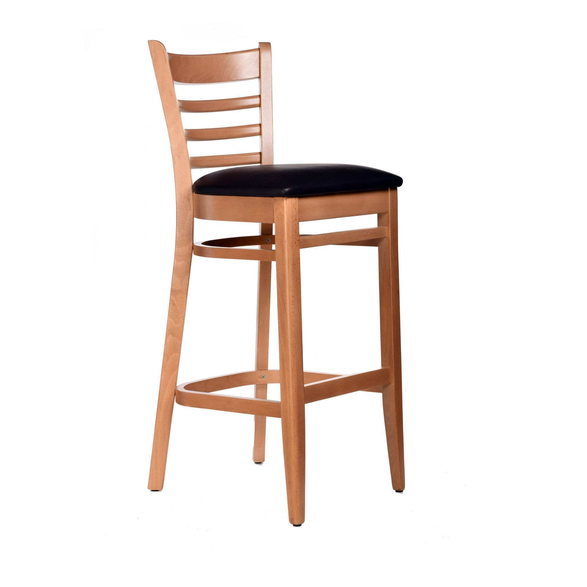 Florence Barstool Natural - Vinyl Seat (Black) - Made in Europe